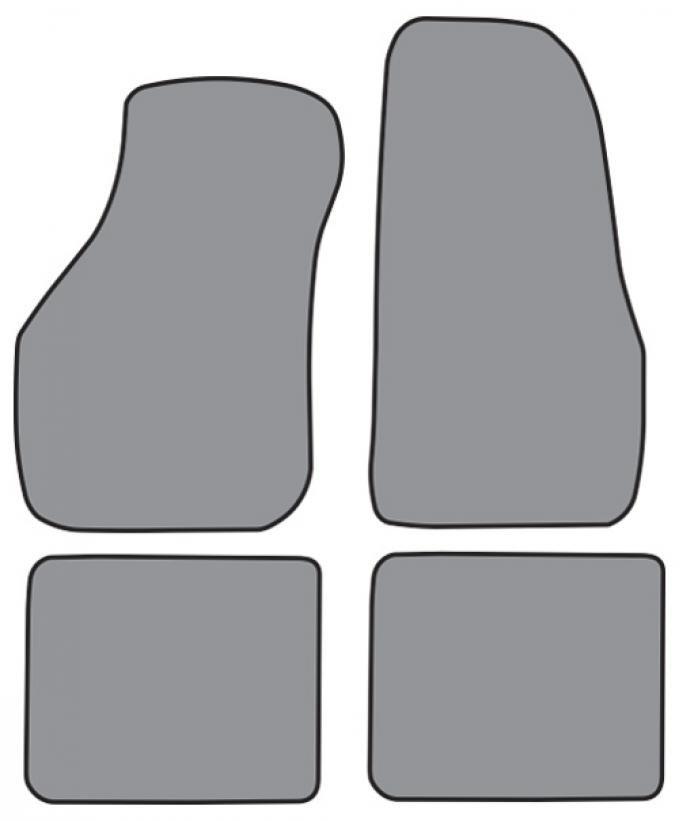 ACC  Volkswagen Cabriolet Convertible Floor Mat 4pc (A5191F FM18R) Cutpile, 1988-1993