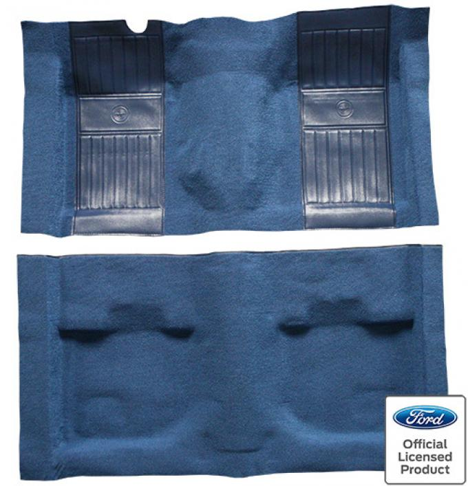 ACC  Ford Mustang Mach I with 2 Medium Blue Running Pony Inserts Fastback Nylon Carpet, 1971-1973