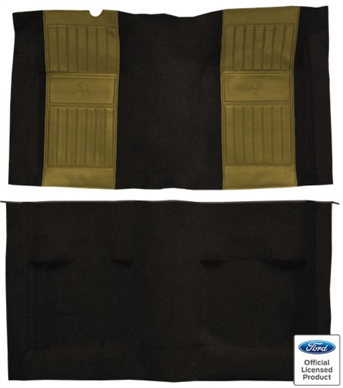 ACC  Ford Mustang Mach I with 2 Ivy Gold Running Pony Inserts Fastback Nylon Carpet, 1971-1973